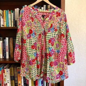 Talbots Woman petite colorful floral popover top